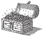 Treasure Chest Gold Coins Drawing