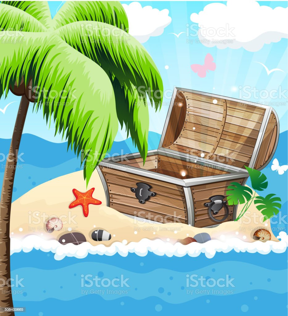 Treasure Chest on sandy island royalty-free stock vector art