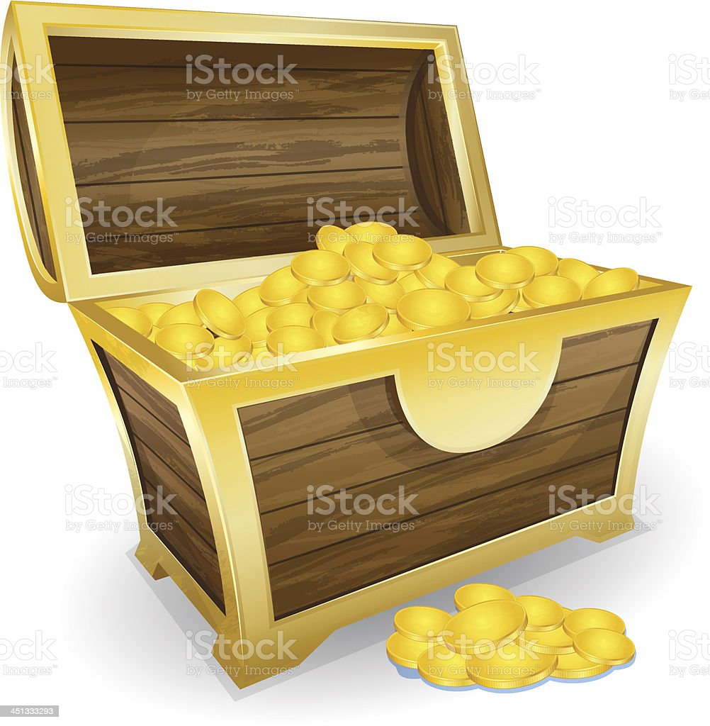 treasure chest with gold coin royalty-free stock vector art