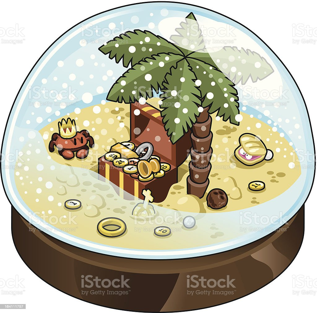 Treasure chest with lots of gold in snow  dome (vector) royalty-free stock vector art