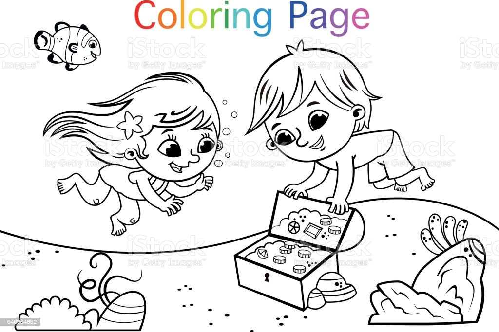 Vector illustration of two kids under the sea.