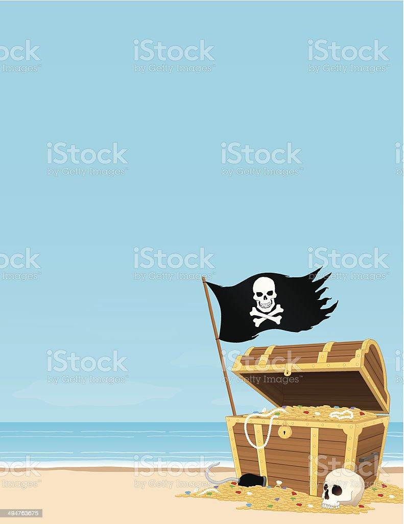 Treasure Island vector art illustration