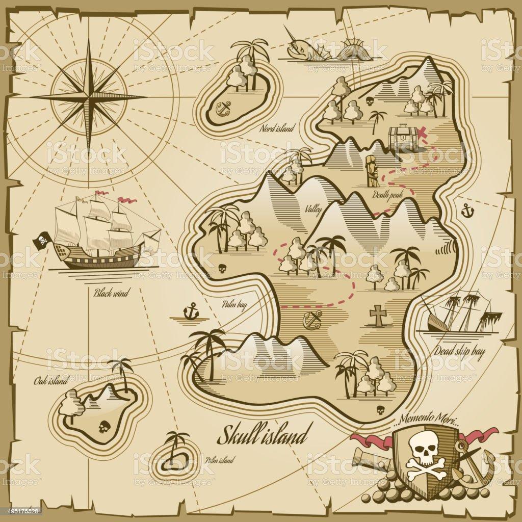 Treasure island vector map in hand drawn style vector art illustration