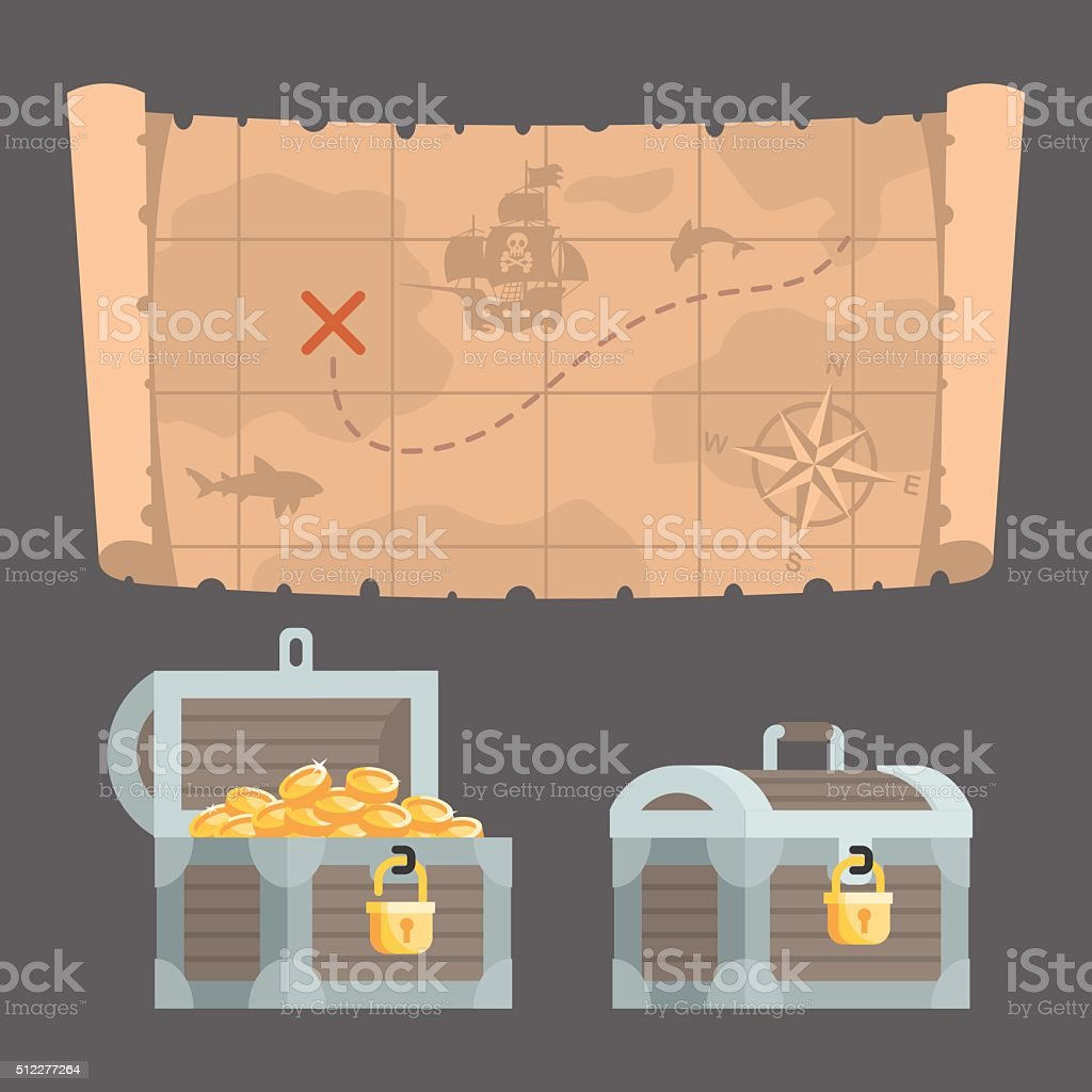 Treasure map and chest with gold vector art illustration