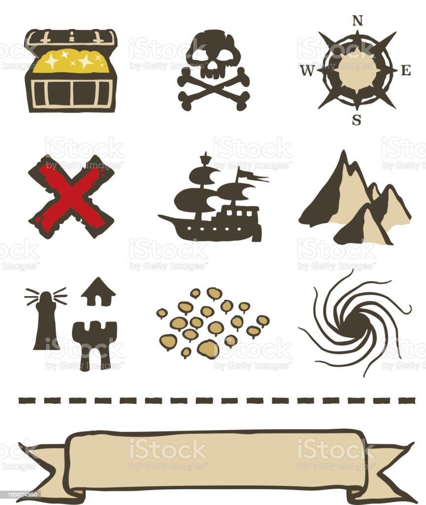 Treasure Map Icons And Elements stock vector art 165624950 ...  Treasure
