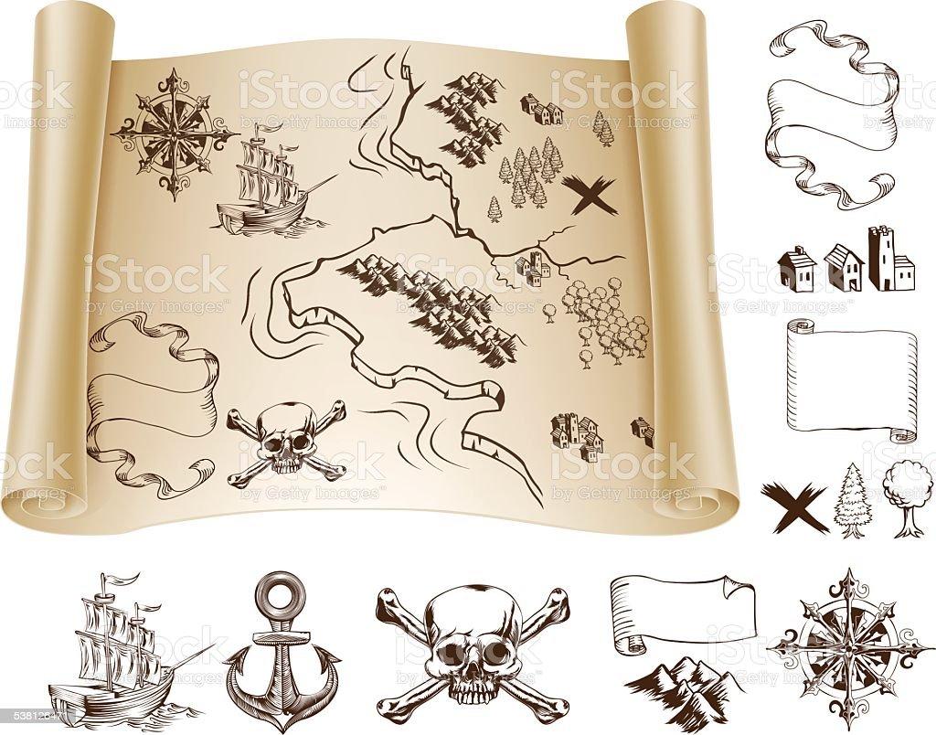 Treasure map kit vector art illustration