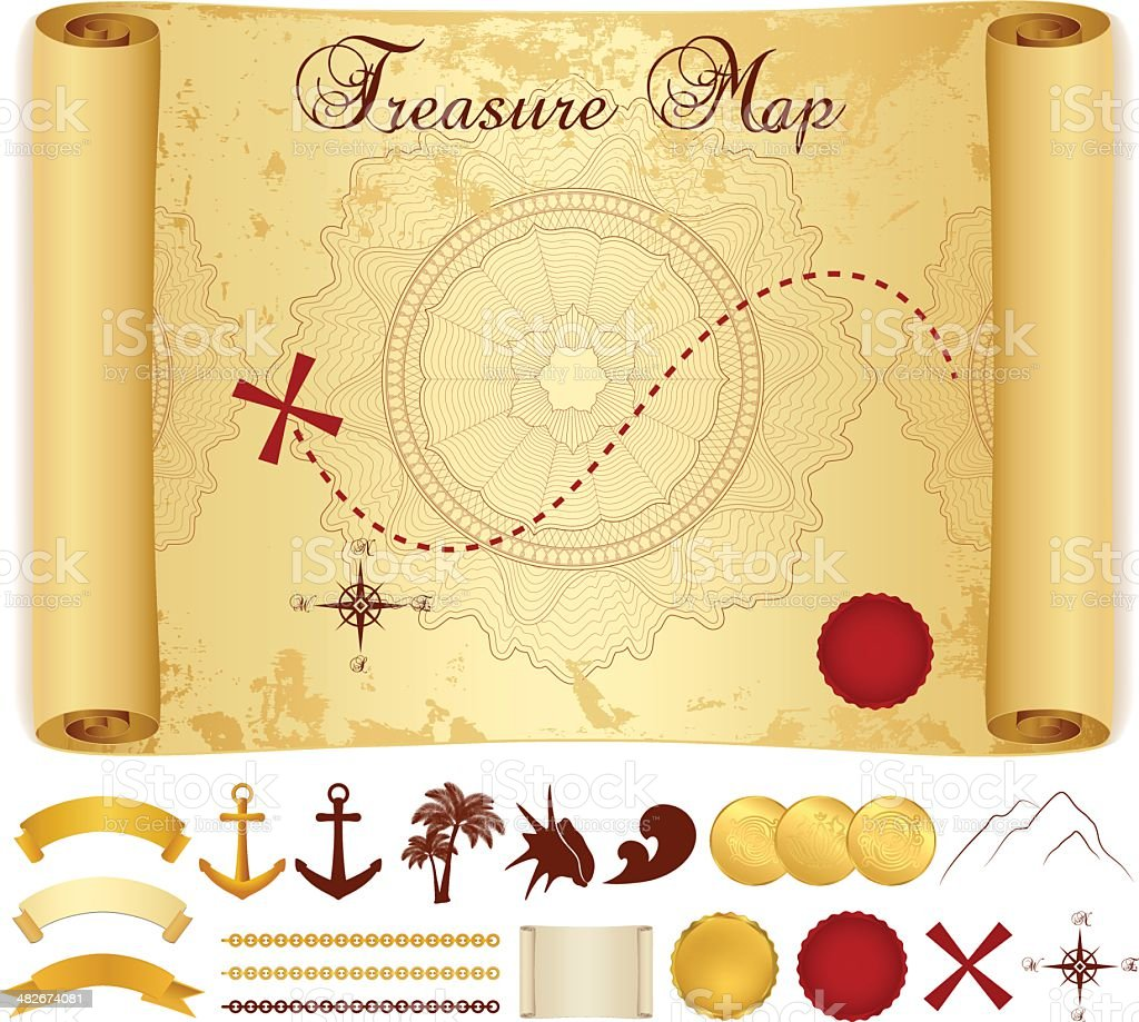 Treasure Map on old, vintage, antique paper (scroll, parchment). Vector royalty-free stock vector art