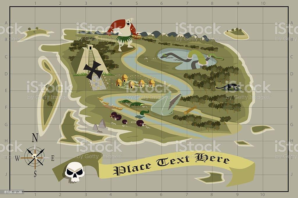 Treasure Map vector art illustration