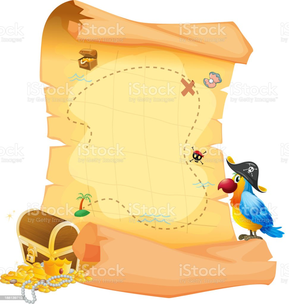 treasure map with a parrot royalty-free stock vector art
