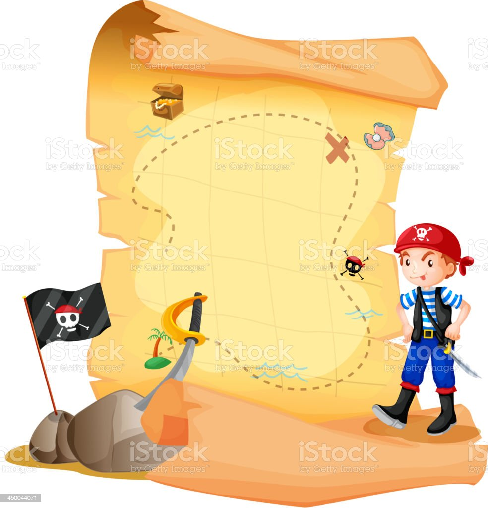 treasure map with a young pirate royalty-free stock vector art