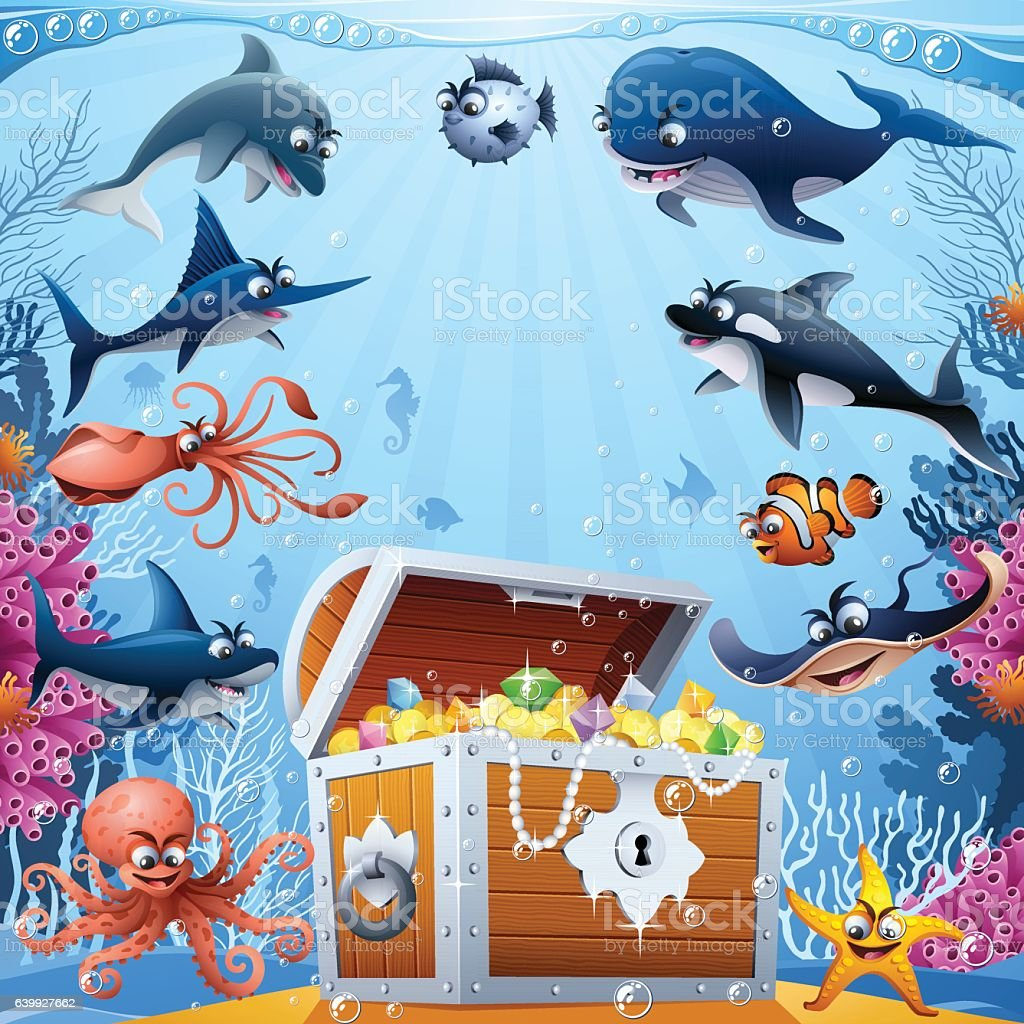 Treasure under the sea vector art illustration