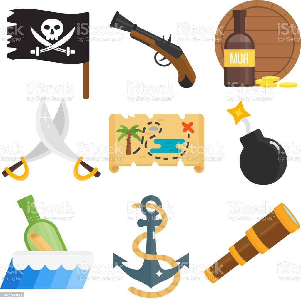 Treasures icons vector set. vector art illustration