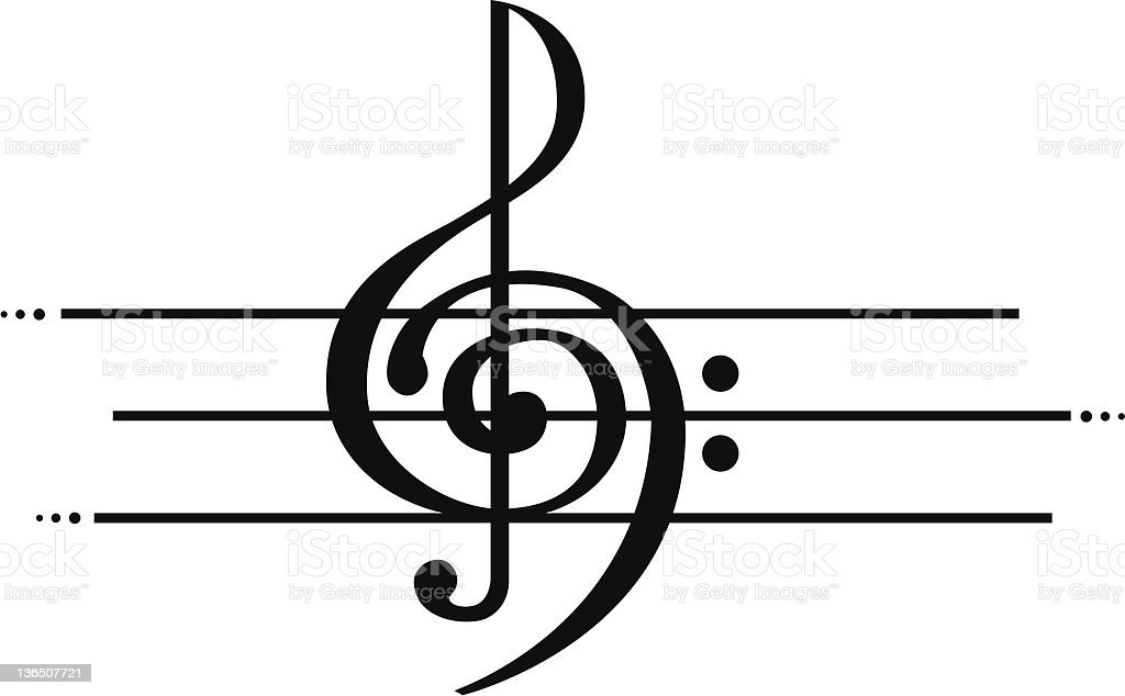 Treble and Bass Clef royalty-free stock photo