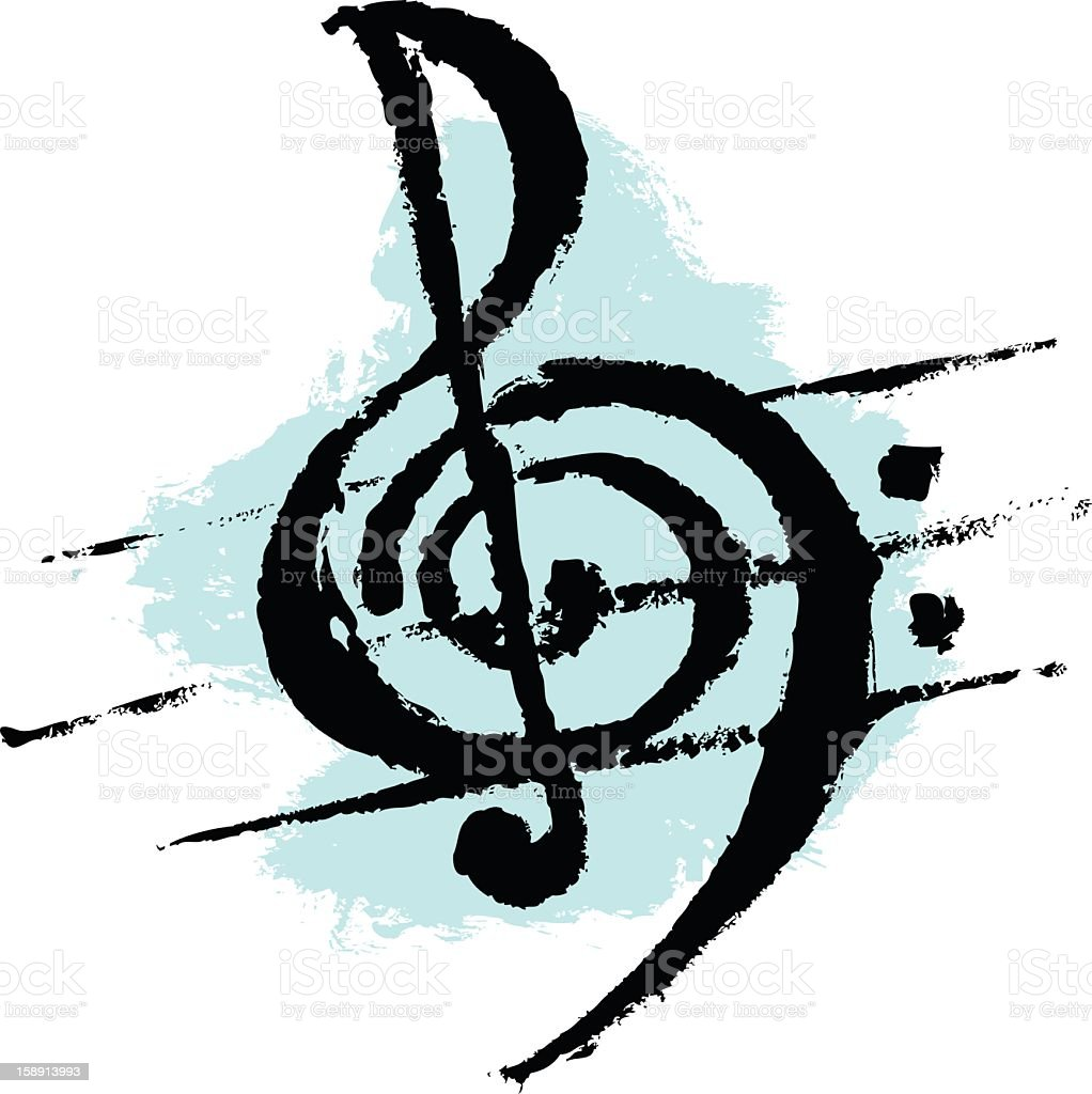 Treble and Bass Clef stock photo