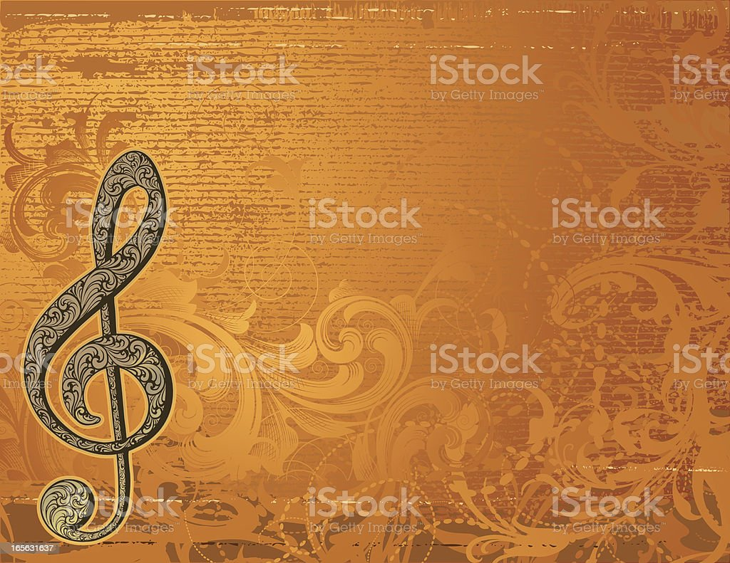 Treble Clef Grunge Music Page royalty-free stock vector art
