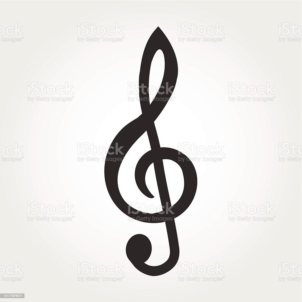 treble clef icon, flat design vector art illustration