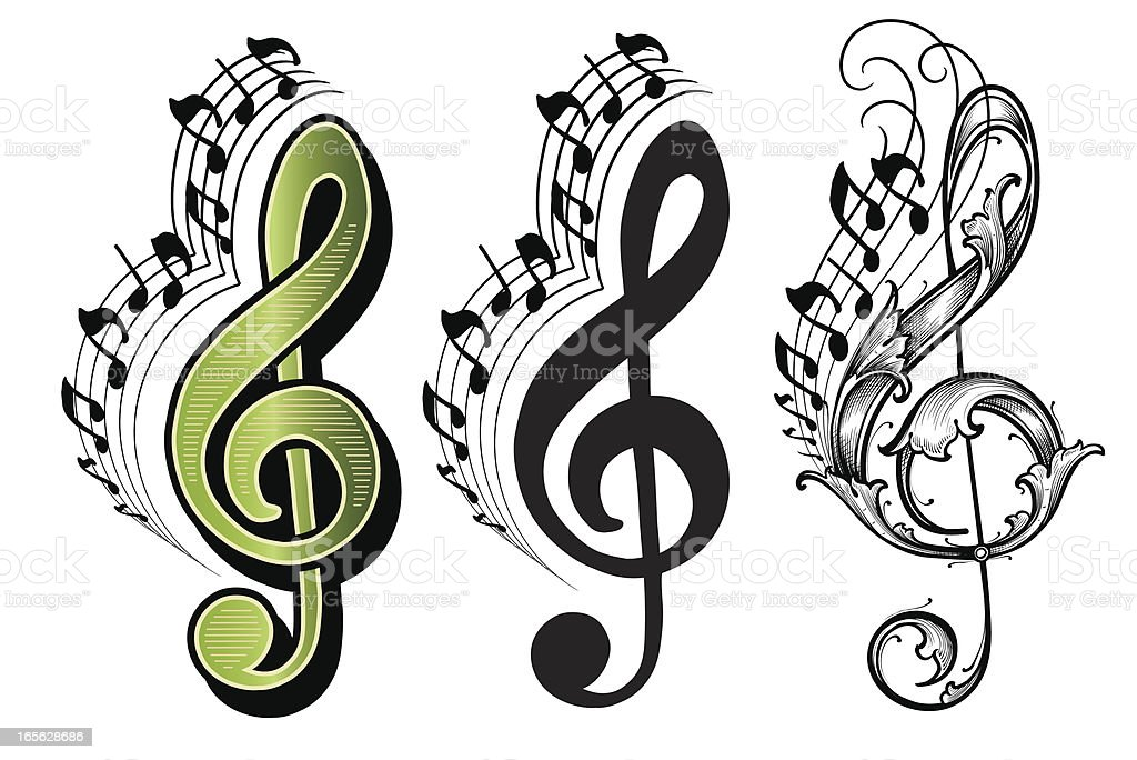 Treble Clef Music musical notes vector art illustration