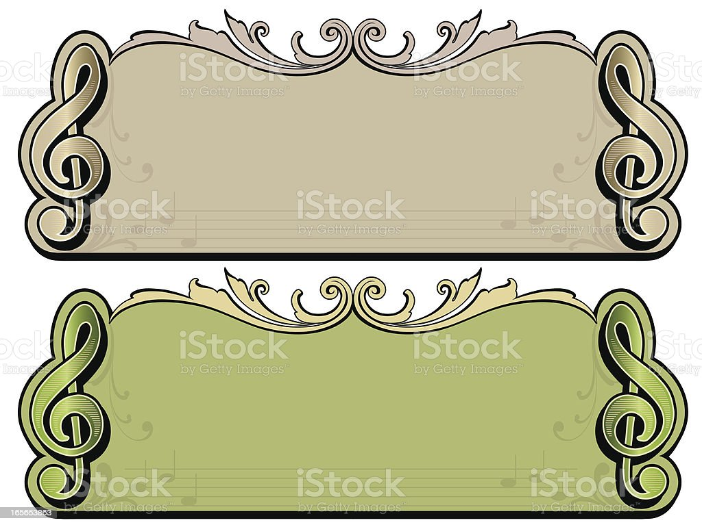 Treble Clef Musical Banners royalty-free stock vector art
