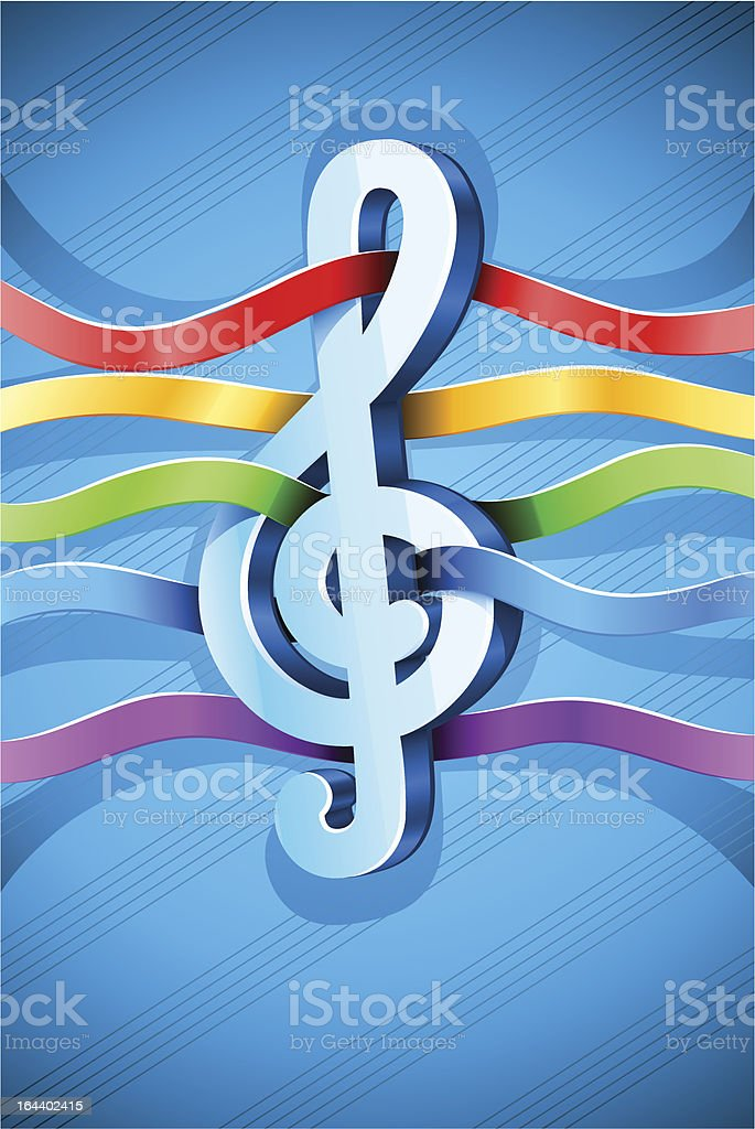 treble clef musical symbol with ribbon royalty-free stock vector art