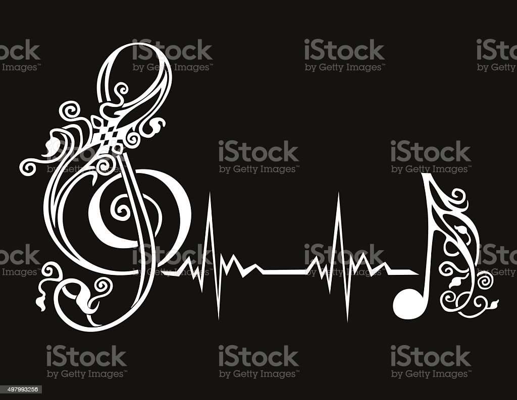 Treble clef sign with the cardiogram and note vector art illustration