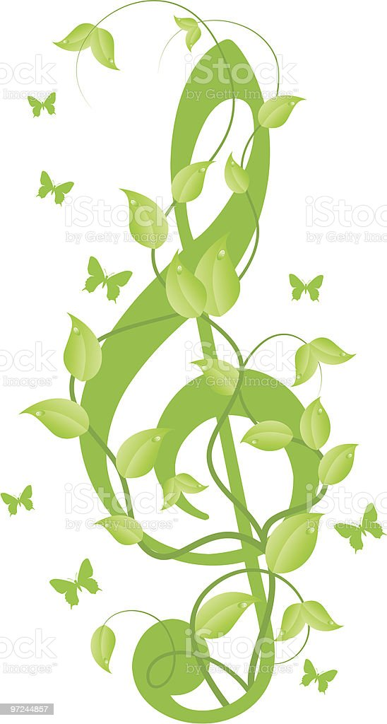 Treble clef with small butterflies royalty-free stock vector art