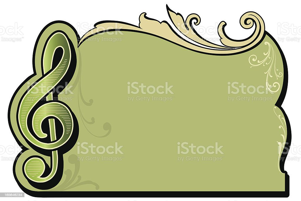 Treble Cleff Musical Frame royalty-free stock vector art