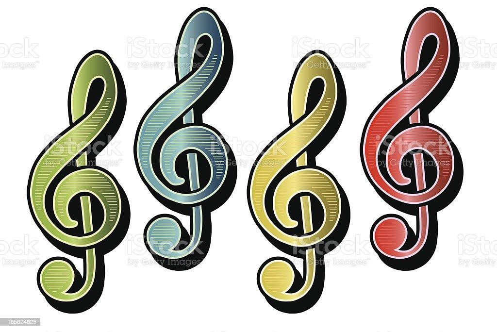 Treble Clefs Color music notation vector art illustration