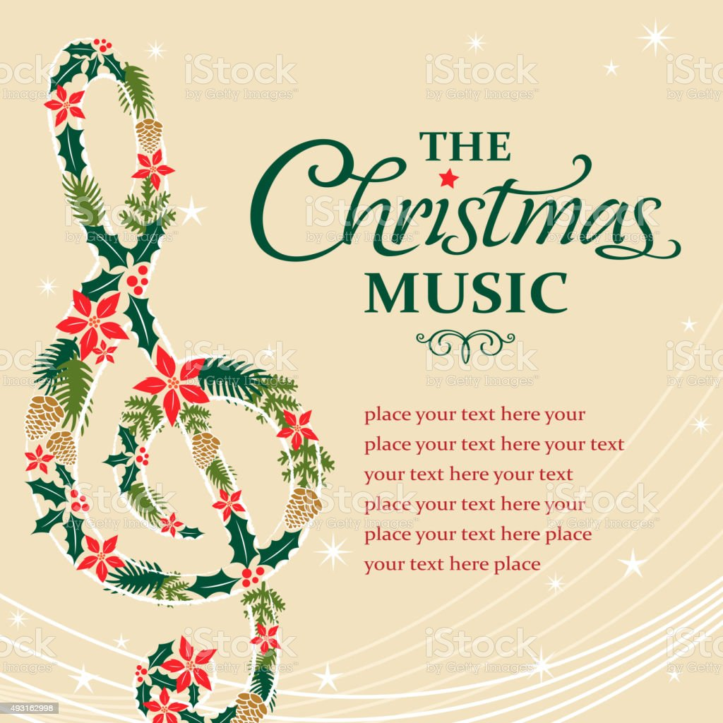 Treble musical notes shape form christmas floral vector art illustration