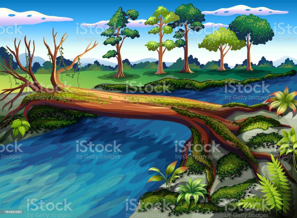 Tree across the river royalty-free stock vector art