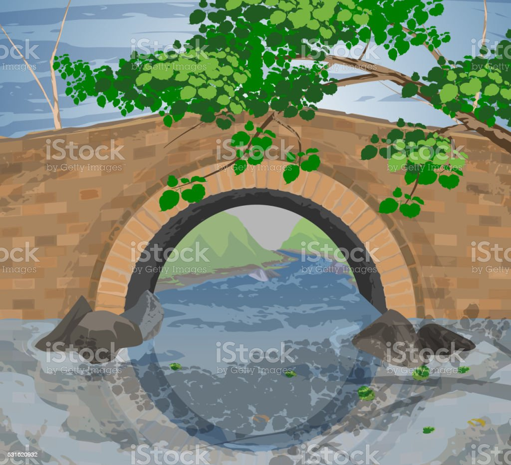 Tree and arch bridges vector art illustration