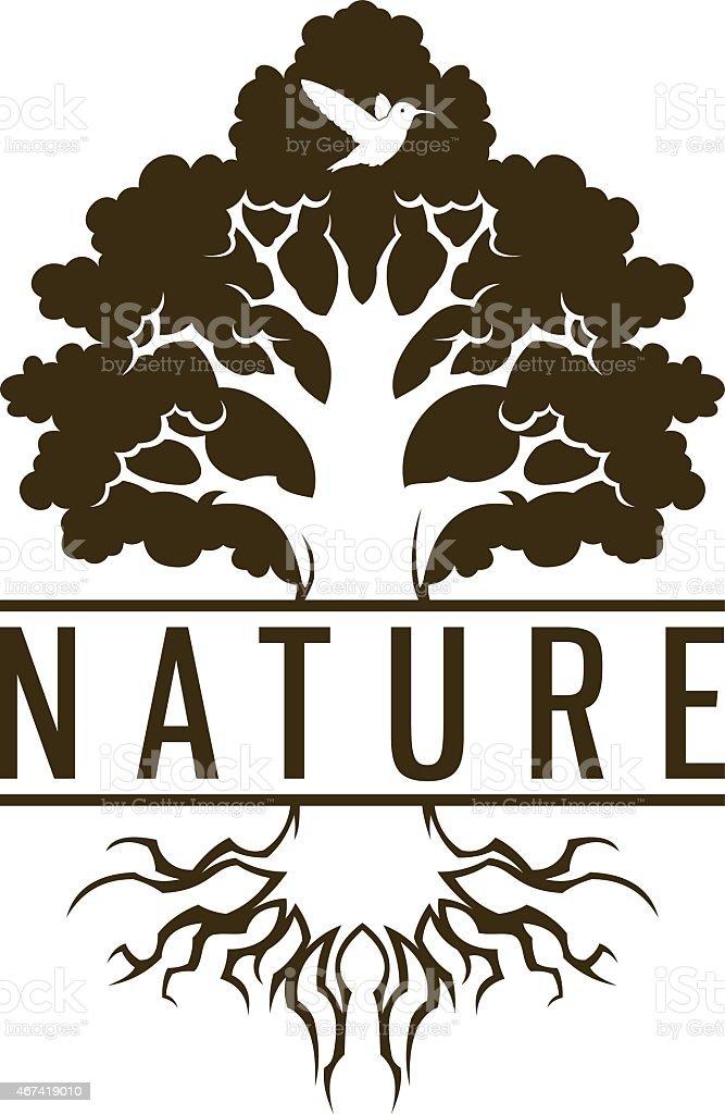 Tree and bird vector art illustration