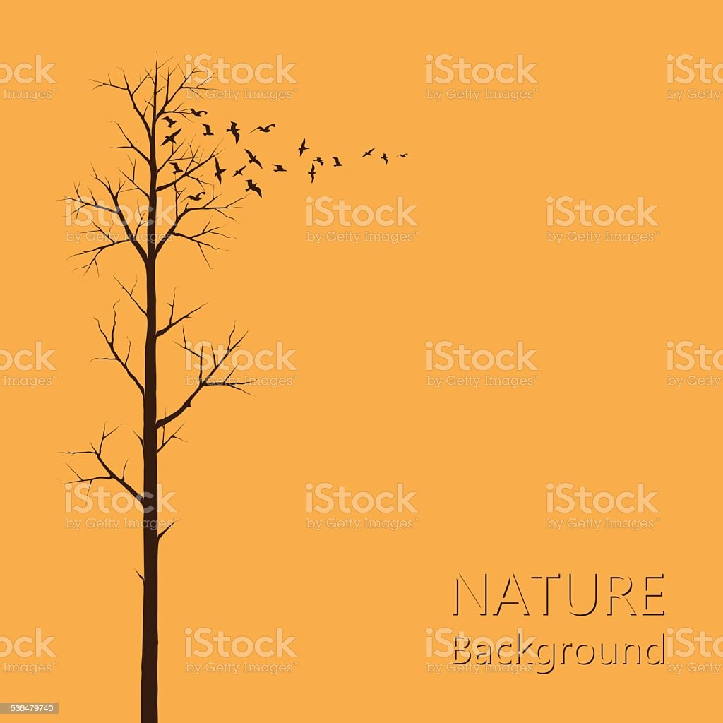 Tree And Birds vector art illustration