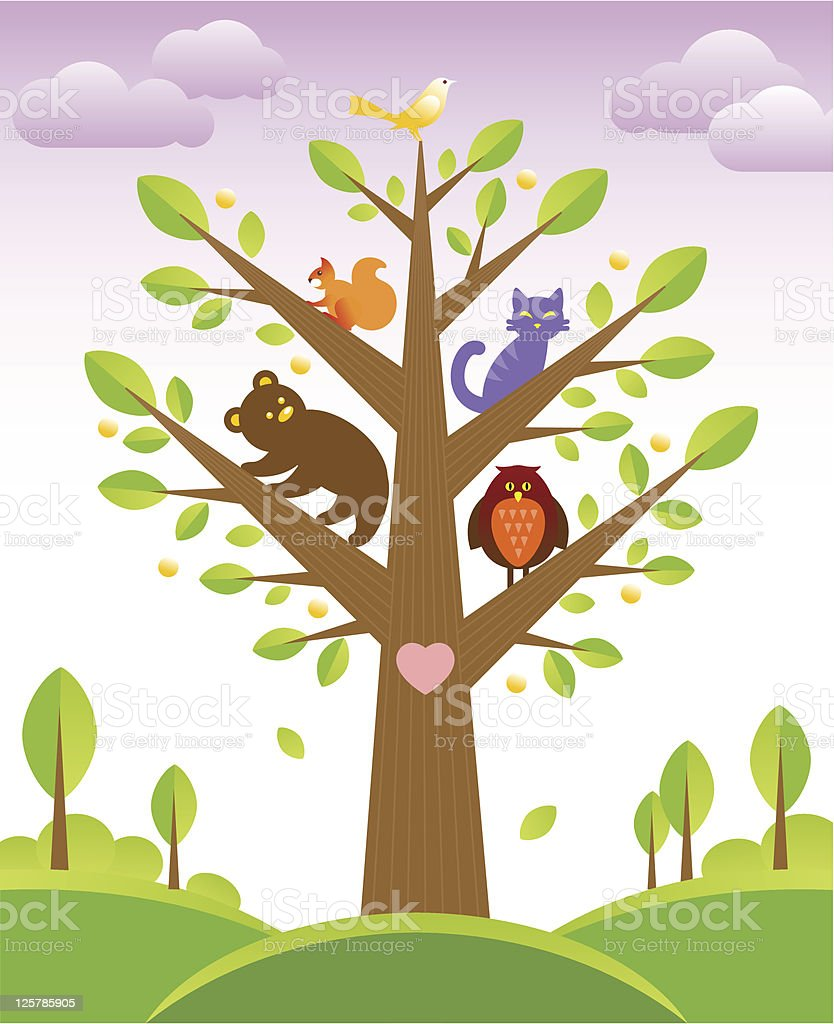 Tree and cute animals royalty-free stock vector art