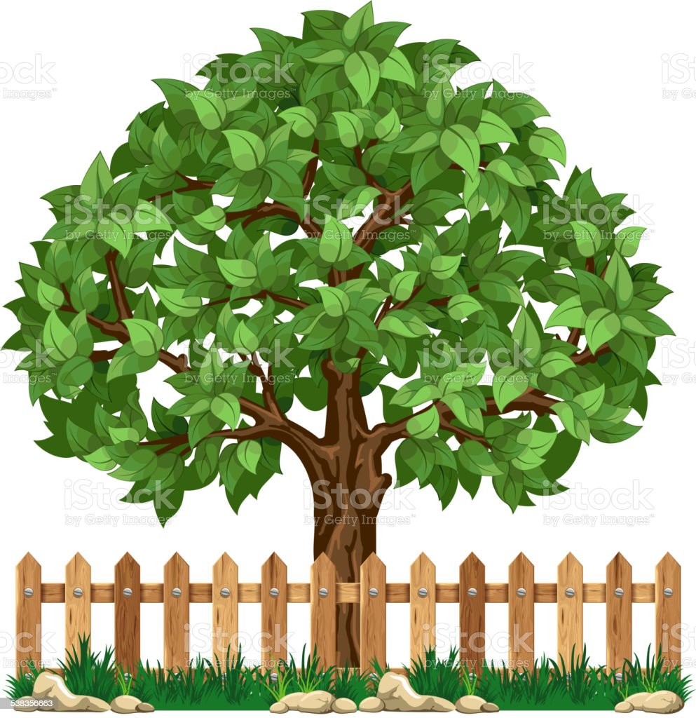 Tree and fence vector art illustration