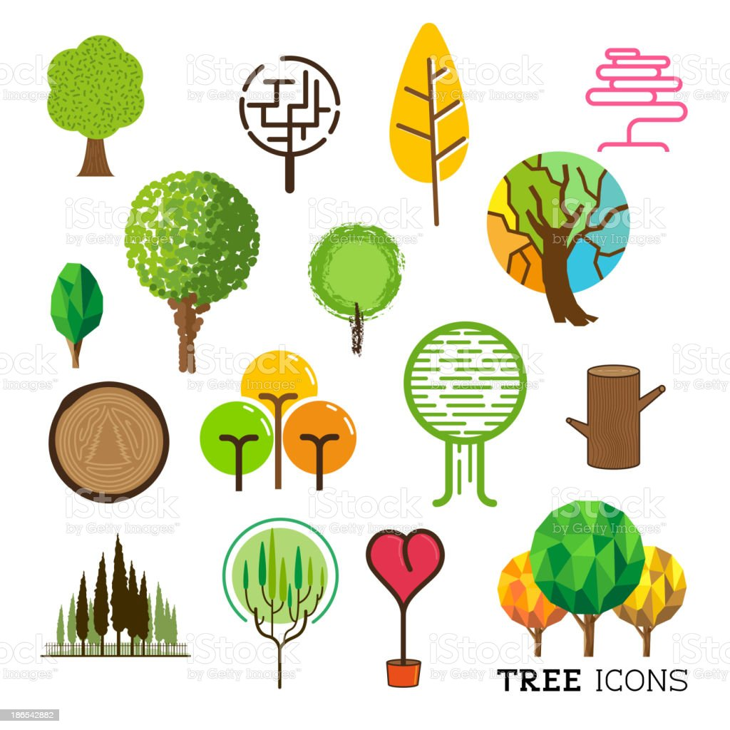 Tree and Forest Icons royalty-free stock vector art