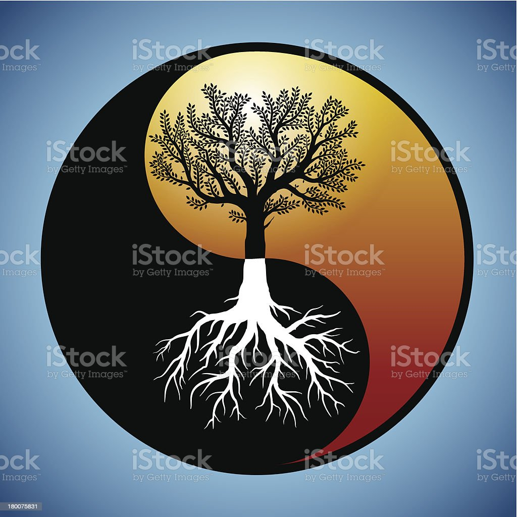 Tree and it's roots in yin yang symbol vector art illustration