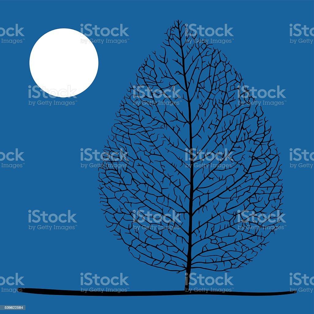 Tree and moon vector art illustration