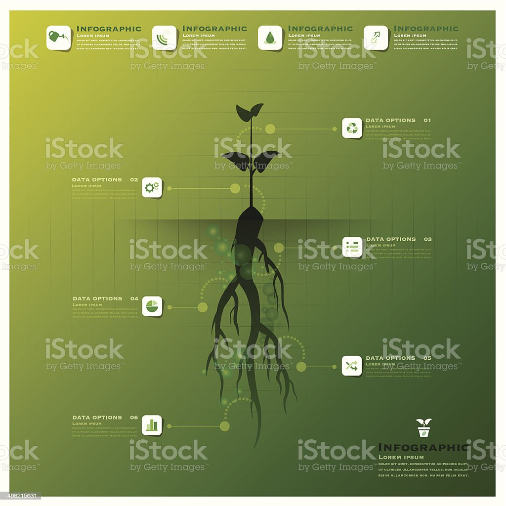 Tree And Root Infographic Design Template vector art illustration