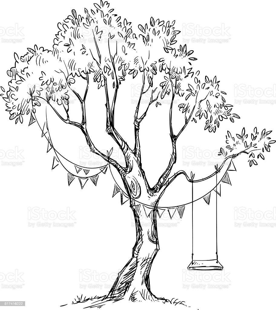 Tree and swing. Vector sketch. vector art illustration