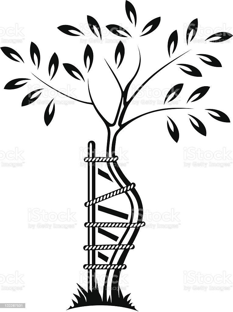 Tree as symbol of orthopedics and traumatology vector art illustration