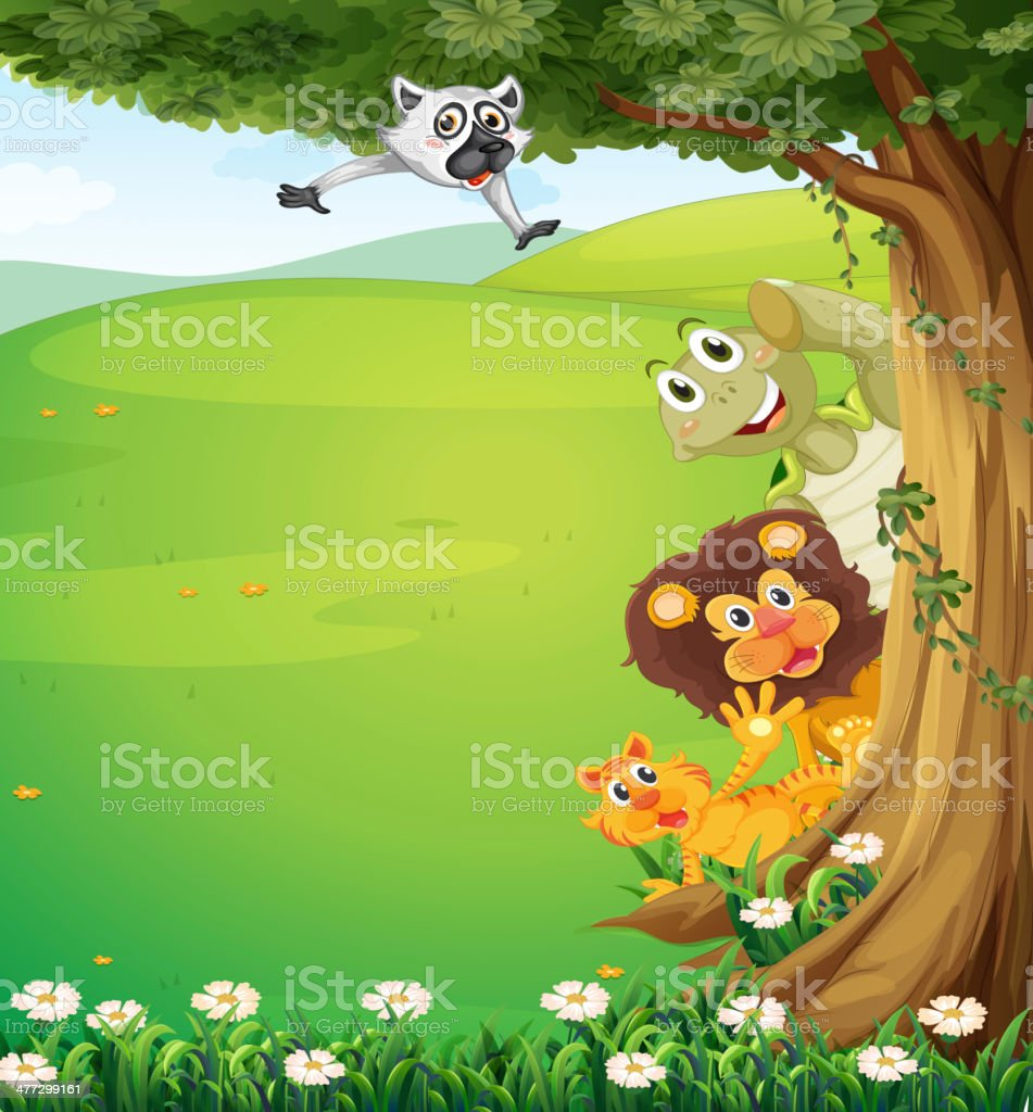 tree at top of hills with animals hiding royalty-free stock vector art