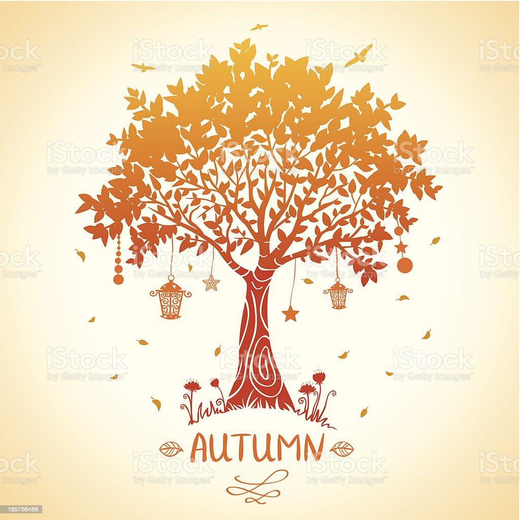 tree autumn vector art illustration