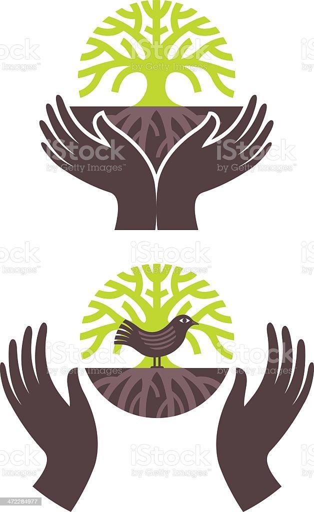 Tree bird embrace vector art illustration