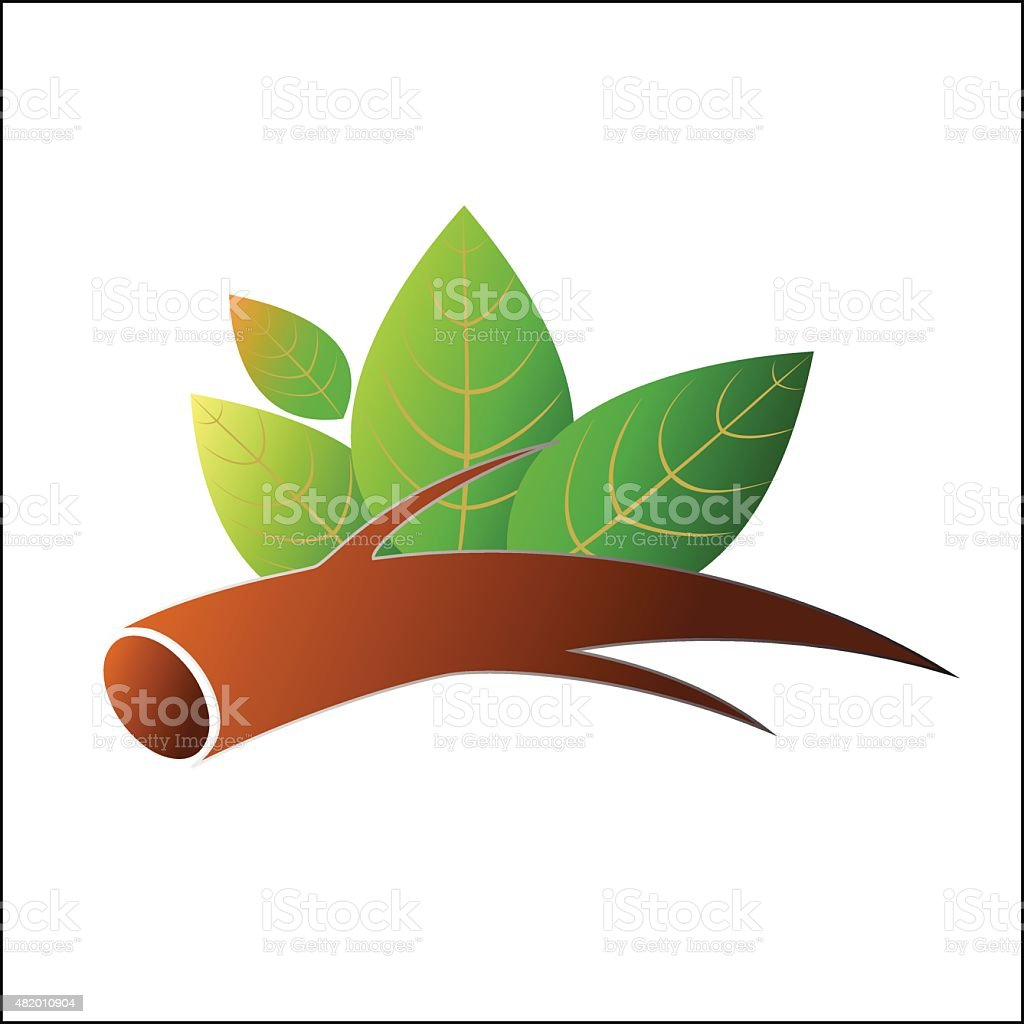 Tree branch with leafs royalty-free stock vector art
