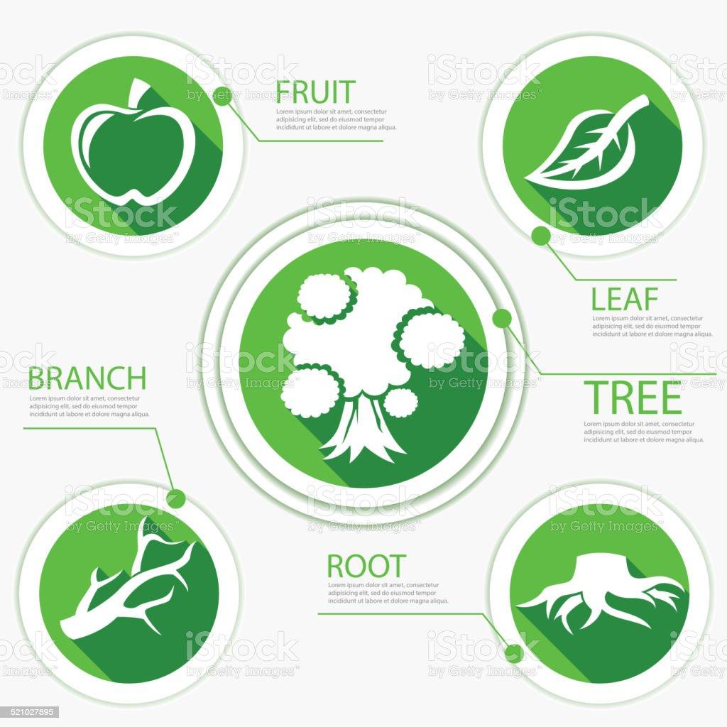 Tree Chart Go Green Flat Design vector art illustration