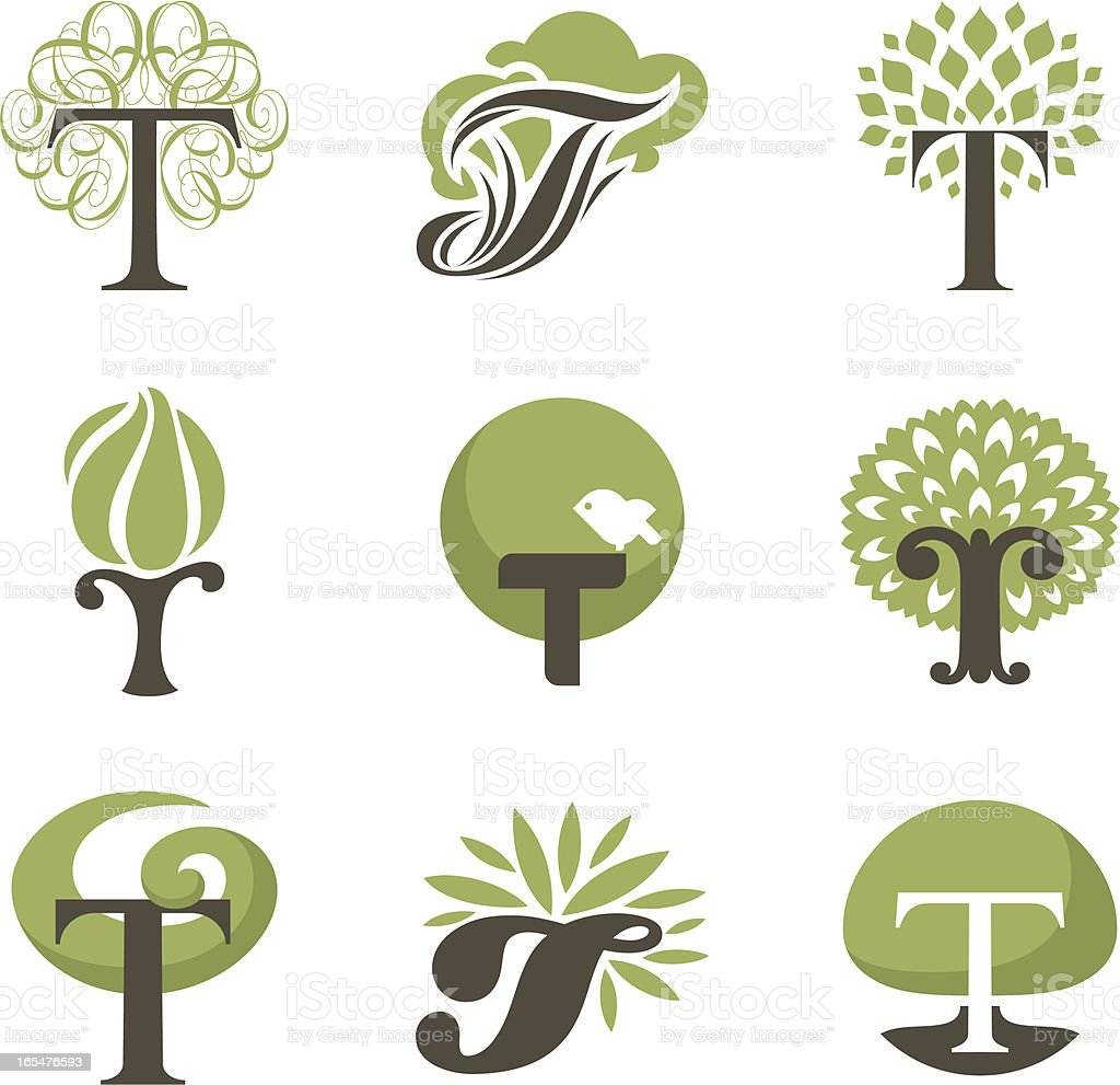 Tree. Collection of design elements royalty-free stock vector art