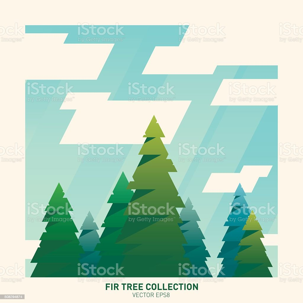 Tree collection vector art illustration