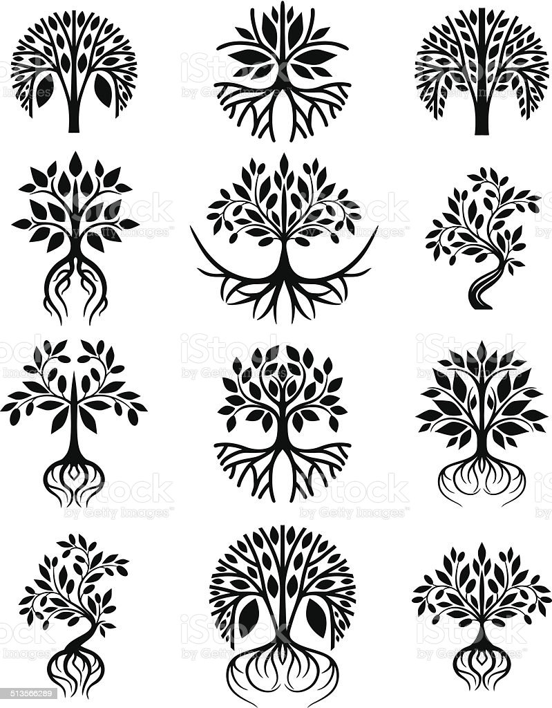 Tree collection vector art illustration