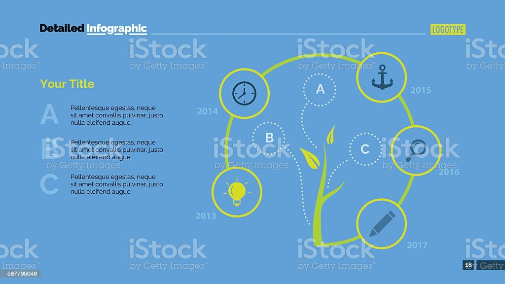 Tree Cycle Metaphor Diagram Slide Template vector art illustration