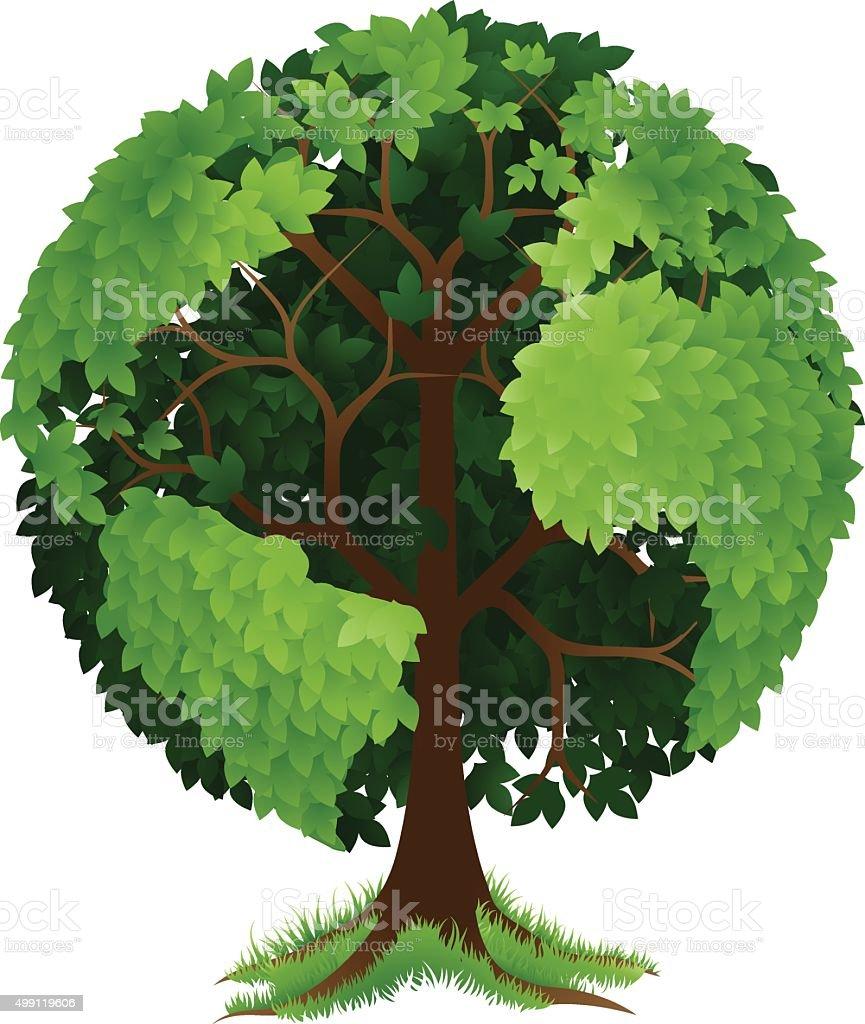 Tree Earth Globe vector art illustration